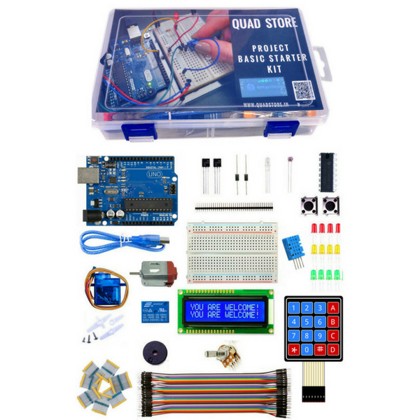 Quad Store(TM) Project Basic Starter Kit with Uno R3 for Arduino beginners