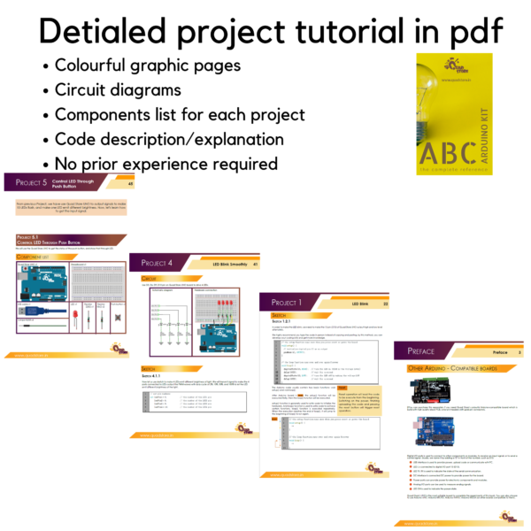 ABC Kit for Arduino Uno R3 with 250+ page detailed colorful graphic pdf  tutorial